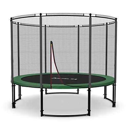 Ampel 24 Deluxe Outdoor Trampolin 305 cm schwarz beschichtet komplett mit Aussennetz | Gartentrampolin mit 8 gepolsterten Stangen | Sicherheitsnetz mit Stabilitätsring | Belastbarkeit 150 kg