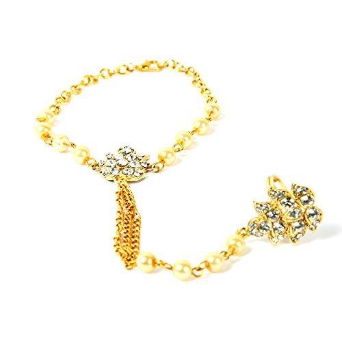 t Indischen Schmuck Bollywood Kundan Kette Hand Party Tragen Pearl Armband/Stein Schmuckset-Golden- (Links/Rechts Hand) -hp-33g ()