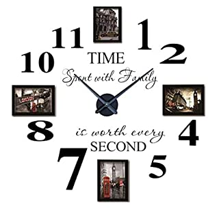 Housart Inspirational Quotes Wall Sticker Photo Frame DIY 3D Wall Clock for Home Decor (black)