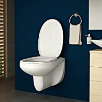 AQUAMARIN Cuvette WC | Blanche, env. 54/36/35 cm, en Plastique et Céramique, avec Abattant à Fermeture | Cuvette Suspendue à Fond Plat