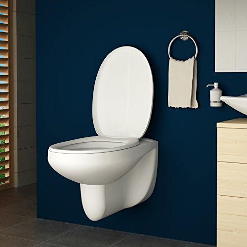 Toilette Hänge-WC | Keramik, Toilettensitz mit Absenkautomatik, Weiß | Wand-WC, Wand-Tiefspül-WC, WC-Schüssel, Toilettenschüssel