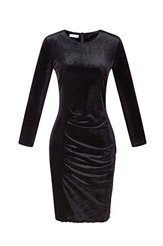 Le Donne Eleganti A Maniche Lunghe Giro Collo Plissettata Bodycon Vestito Di Velluto Black