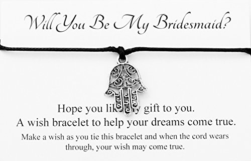 Will You Be My Bridesmaid? Wedding Hamsa Hand Charm Wish Bracelet Card Gift Bag Friendship charmed Bracelet Party Favour(Hand made in UK) (Black)