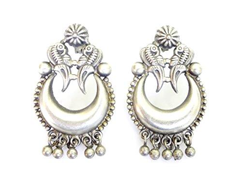 Genuini 925 ossidato argento fatti a mano etnici tribali gypsy drop dangle progettista unico tradizionale orecchini di argento tibetano / lunghezza: 3,5 cm