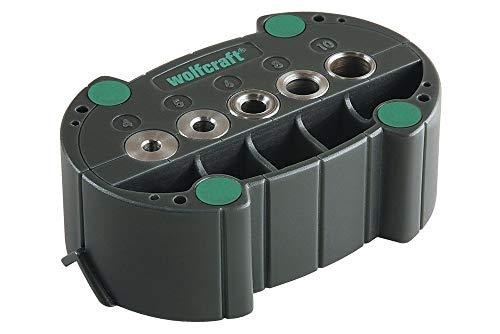 wolfcraft accumobil Mobile Bohrhilfe 4685000 | Handliches Bohrzubehör für rechtwinkliges und präzises Bohren mit praktischen Bohrbuchsen und Positionierungslinien