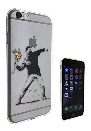 c0071-Banksy Flower Thrower Design Iphone 6Coque de protection Coque de protection Case Gel Rubber 6S Fashion Trend Coque en silicone