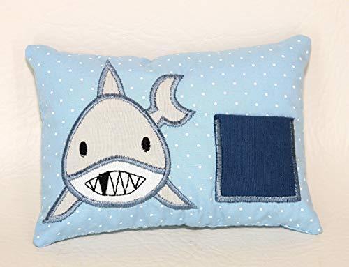 Zahnfeekissen Zahnfee Hai Milchzahn mit Namen personalisierbar blau handgemacht (Für Kissen Zahnfee Jungen)