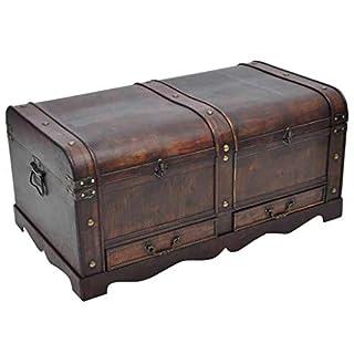 storage inc Grand Coffre au trésor en Bois Antique Vintage Ottoman Coffre de Rangement Meubles