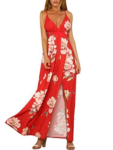 Missy Chilli Damen Sommer Maxikleid Lang Sexy Boho Off Schoulder V Ausschnitt Blumen Schlitz Kleid Strandkleid Rot