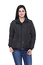 Trufit Full Sleeves Solid Womens Black Polyester Basic Casual Bomber Jacket
