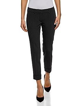 oodji Ultra Mujer Pantalones con Dobladillos en la Parte Inferior