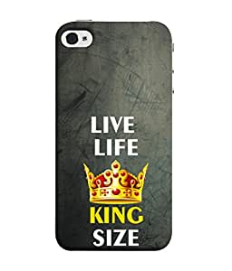 PrintVisa Designer Back Case Cover for Apple iPhone 4S (Wisdom Of Life View Motivational King Crown Text)