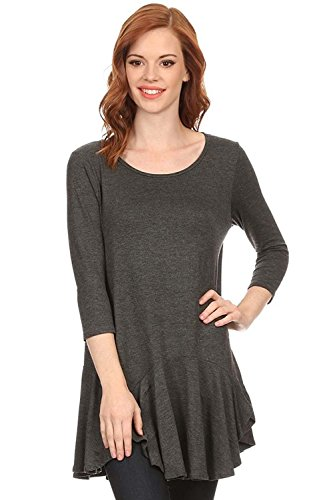 Women's Solid 3/4 Sleeve, Ruched Bottom Tunic Top. MADE IN USA (S, CHARCOAL) (Knit Ruched Top)