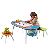KidKraft 26956 Chalkboard Wooden Art Table with Stools, paper roll, paint cups and storage - kids and children