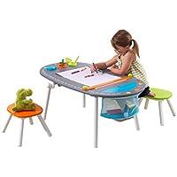 KidKraft 26956 Basteltisch mit Kreidetafel-Oberfläche und Hockern aus Holz für Kinder mit Papierrolle, 3 Farbbechern und Stauraum - Kinderzimmer Möbel