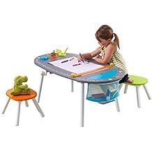 KidKraft Pupitre infantil artístico con pizarra y taburetes de madera
