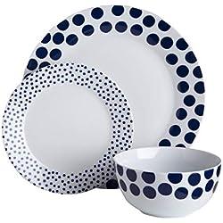 Premier Housewares 0722921 Blue Spots Dinner - Vajilla (12 piezas, porcelana), diseño de lunares, color azul