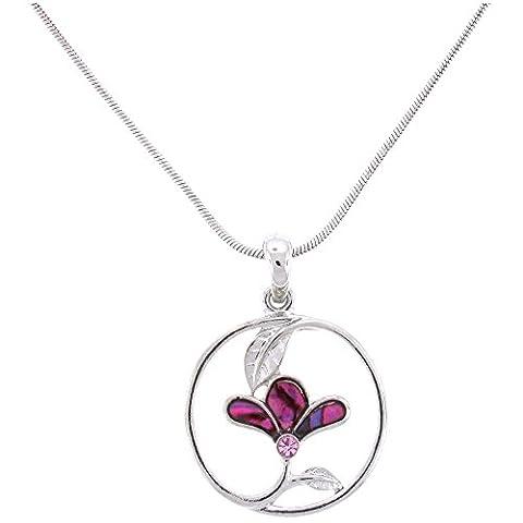Abalone-Paua-Muschel rund Rosa Blumen Anhänger Dreiblatt