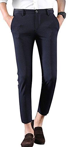 Plaid&Plain Herren Casual Stretch Flache Front Kleid Hose Slim Tapered Anzug Hose - blau - 27W x 26L -