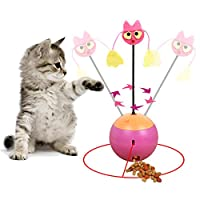 Vealind 3 in 1 Multifunctional Interactive Tumbler Cat Toy Self Rotating Light Ball With Plush Toy & Food Dispenser