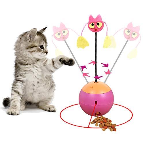 Vealind - Vaso Interactivo Multifuncional 3 en 1, Juguete para Gatos, Bola de luz giratoria con Juguete de Peluche y dispensador de Alimentos
