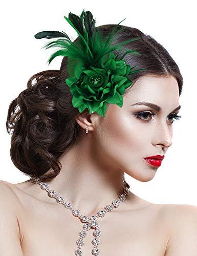 Damen Brosche Elegant Fascinator Haar Clip Accessoire Mesh Bänder Federn Hochzeitskirche Kopfbedeckung