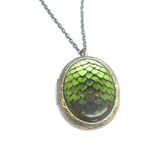 Leichte grüne Drachen Ei Medaillon Halskette (Drachen-ei-stein)