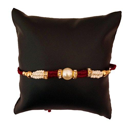 DMS Retail Pearl Golden Balls and Diamond Studded Rakhi with Roli Chawal Rakhi for Brother Rakshabandhan Rakhi Set of 1 Rakhi