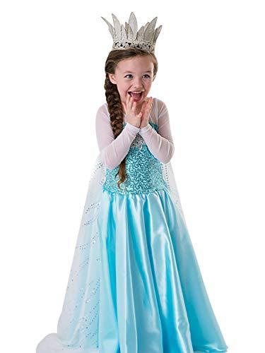 Monissy Mädchen Prinzessin ELSA Kleid Cosplay Kostüm Set Karneval Verkleidung Party Kleid ELSA und Anna Kostüm ELSA Frozen Fever Kleid Halloween Fasching Festival Kostüm Gr.110-150 Blau