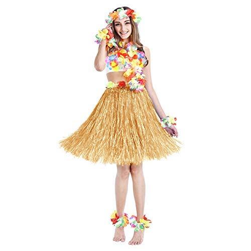 Twister.CK Hula Grass Rock mit Blumen Leis Kostüm Set, Luau Grass und Hawaiian Flower Armbänder, Stirnband, Halskette für Party Favors