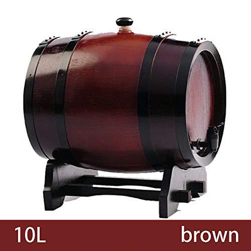 CYANNAN Weinfass - Ohne Galle Weinbereitung Holzfass Zapfhahn Massives Eichenfass Schnapsfass Quality Holzwaren Unlackiertes Holzfass,Brown,10L