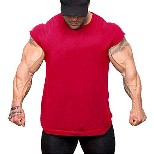 Fenverk Herren Fitness Shape Shirt Figur Formend Training Achselshirts Weste Sauna Schwitzeffekt Tank Top Stark Gym Bodyshape Mit Breit TräGer(Rot 1,XXL) -