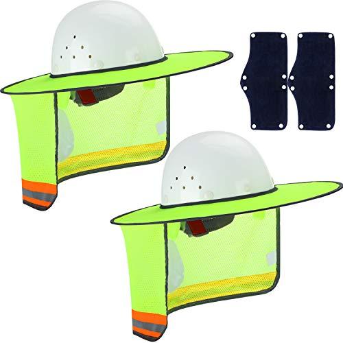 Skylety 4 Stück Harte Hut Sonnenhut mit hoher Sichtbarkeit Mesh und Sonnenschutz Schweißband für Bauhelme UV-Schutz, Style 3