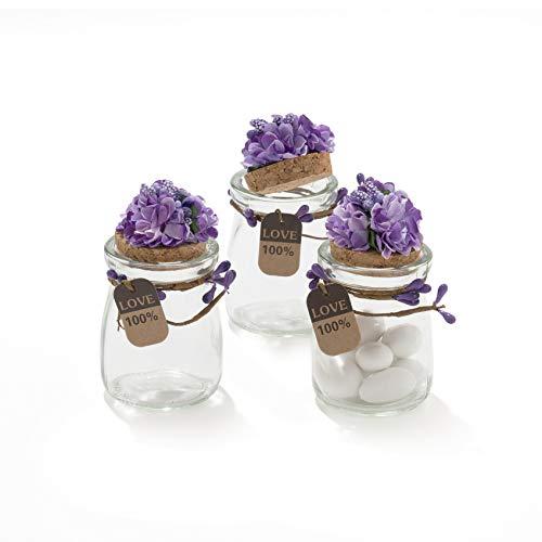 20 pezzi barattolo vetro con tappo in sughero porta confetti bomboniera incluso decorazione fatto a mano fiore pistilli etichetta tema naturale (lilla)