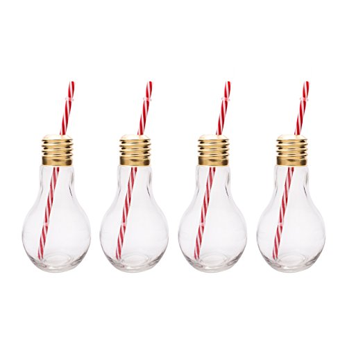 Mixology Edison Glühbirnegläser aus Glas, klar, 4-er Set (Für Getränke Halloween-partys Alkoholische)
