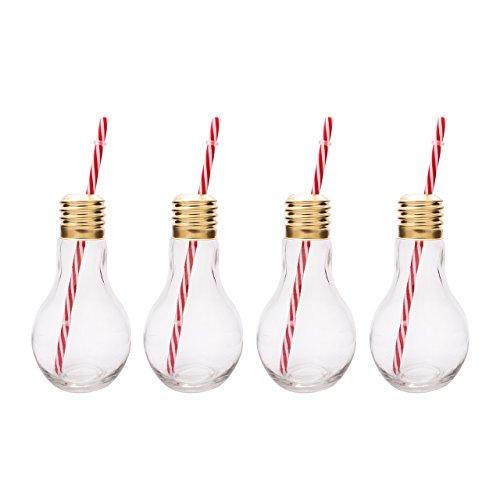 Mixology, Bicchieri a Forma di Lampadina Edison, Trasparente, Set da 4