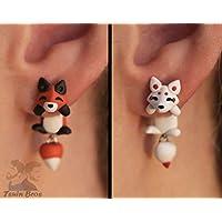 Boucles d'oreilles Renard ou Kitsune. Vendu par paire.