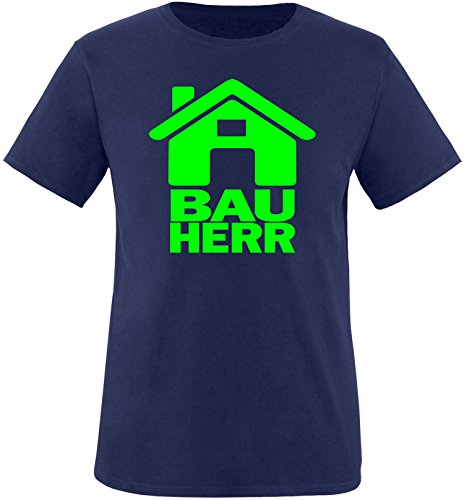 Luckja Bauherr Herren Rundhals T-Shirt Navy/Neongruen