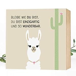 Wunderpixel® Holzbild Einzigartig-Alpaka - 15x15x2cm zum Hinstellen/Aufhängen, echter Fotodruck mit Spruch auf Holz - Wand-Bild Aufsteller im Kinderzimmer zur Dekoration oder als Geschenk-Idee