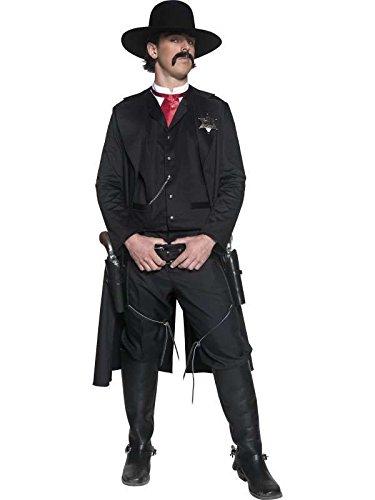 Kostüm sheriff authentic western Schwarz-Größe -