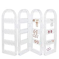 Kbnian 120 Earring Holder Transparent Acrylic Jewelry Hanger Organizer with Foldable 17.3x11.2x0.78Inch Jewelry Screen Display Stand for Hanging Earrings Necklace Rings