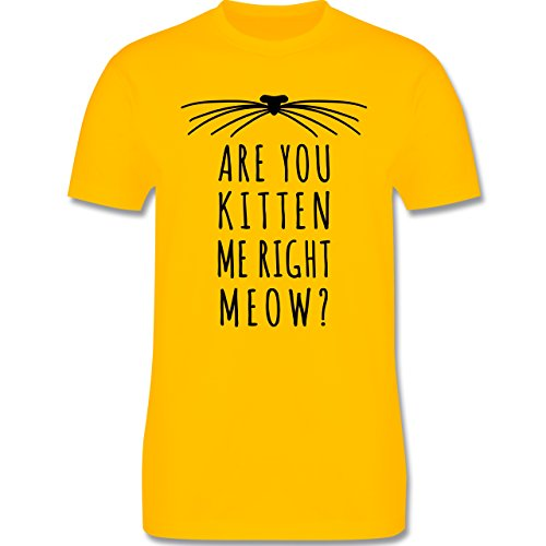 Statement Shirts - Are your kitten me right meow? Katze - Herren Premium T-Shirt Gelb