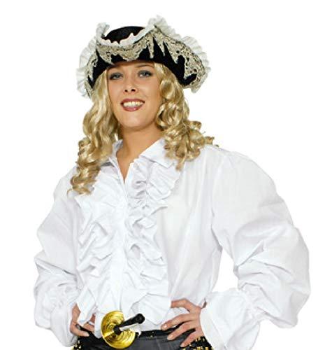 narrenkiste K35292500-50-52 weiß Damen-Herren Rüschen Hemd Piraten Hemd Gr.50-52