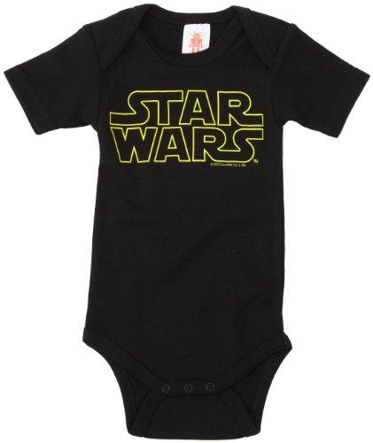 LOGOSHIRT - Star Wars Baby-Body Kurzarm Junge - Logo - Krieg der Sterne - Schriftszug Baby Strampler - schwarz - Lizenziertes Originaldesign, Größe 74/80, 7-12 Monate