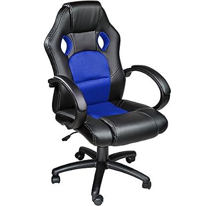 TecTake Silla de escritorio de oficina, Racing – disponible en diferentes colores (Azul)