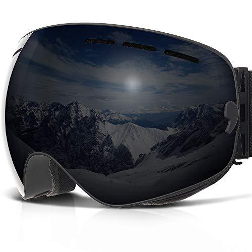Skibrille ,COPOZZ G1 Ski Snowboard Brille Brillenträger Schneebrille Snowboardbrille Verspiegelt - Für Damen Herren Frauen Jungen - Mit Sehstärke OTG UV-Schutz Anti-Fog Black Schwarz