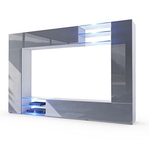 Vladon Wohnwand Anbauwand Mirage, Korpus in Weiß matt/Fronten in Grau Hochglanz inkl. LED Beleuchtung