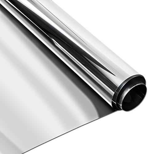 Homein Vinilo Ventana Plata Protector Solar Lámina Privacidad de Una Manera Espejo Película Adhesiva de Gran Reflexión Anti 99% UV Mejor Control de Calor Fácil Instalar Oficina Salón 90 * 200cm