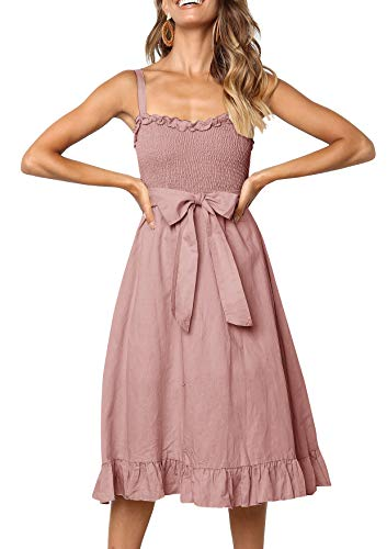 LangÄrmeliges T-shirt Kleid (Lantch Sommerkleider Damen Kurzarm V-Ausschnitt Strand Kleider Elegant Vintage Abendkleid Knielang (1-Rosa, L))