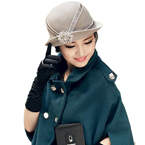 EIN eleganter Hut mit einem kleinen Filzhut und einem Herbst-Winterhut Einer Dame Hut (Farbe : Grau)